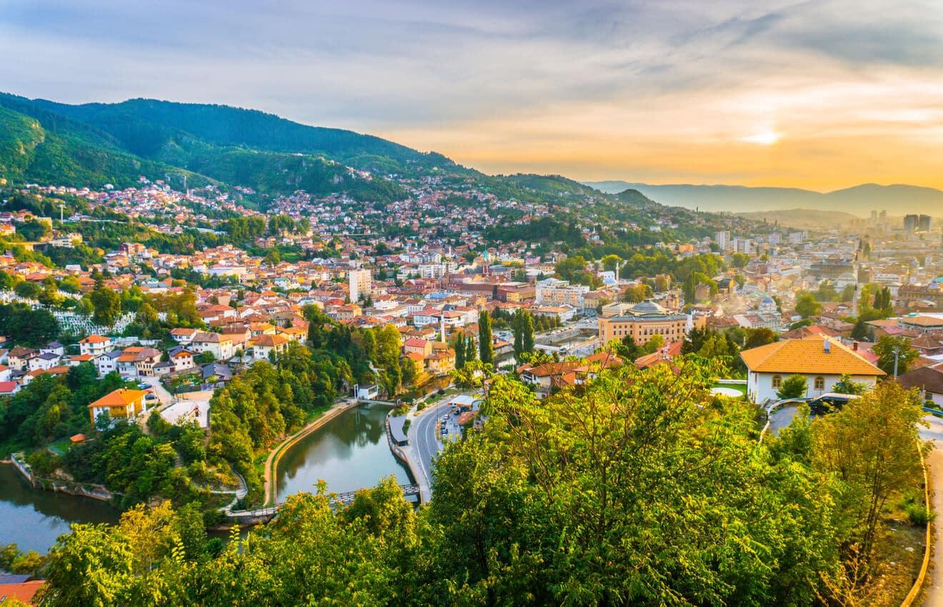 Sunset view of Sarajevo, Bosnia & Herzegovina