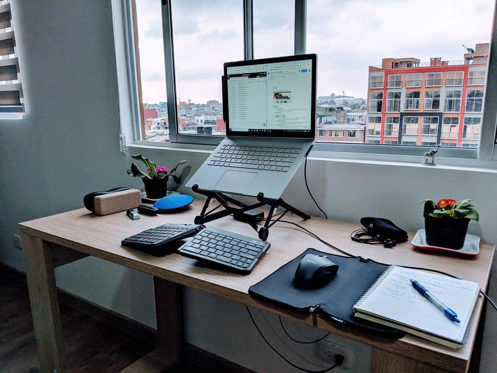 Home desk/office in Bogota, Colombia.